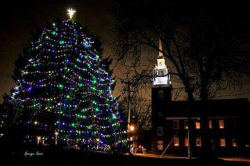 Holidays on Main tree lighting next to church